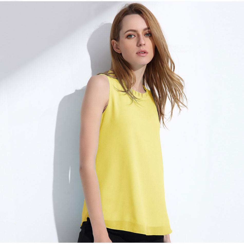 Women Chiffon Blouse Summer Sleeveless Candy Tops Casual Fungus Collar Clothes-Blouse-SheSimplyShops