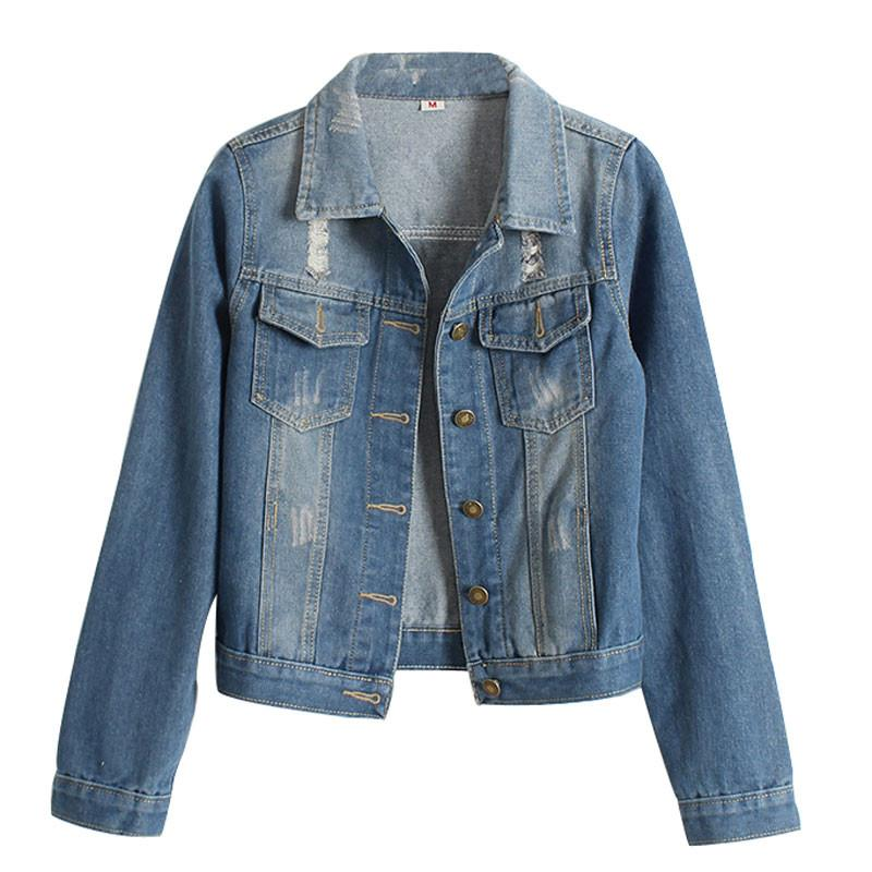 Jeans Jacket Women Slim Basic Denim Jackets With Fashion Casacos Feminino Jaqueta Jeans casaco Outwear-JEANS-SheSimplyShops