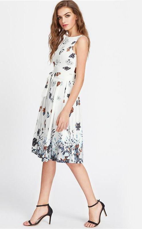White Elegant Dress Women Floral Sexy V Back Cute Self Tie Pleated Summer Dresses Midi Party Tank Dress-Dress-SheSimplyShops