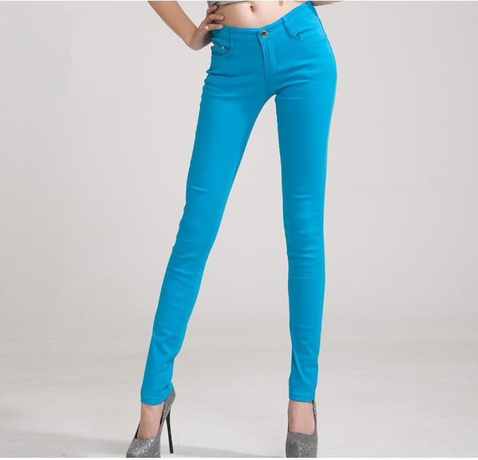 Women's Candy Pants Pencil Jeans Ladies Trousers Mid Waist Full Length Zipper Stretch Skinny Women Pant-JEANS-SheSimplyShops