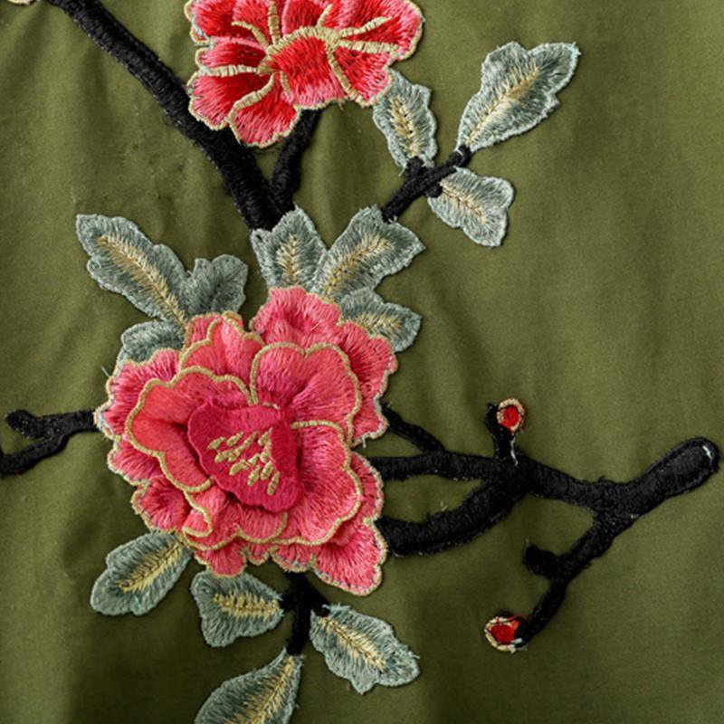 women army green floral embroidery bomber jacket patched rivet design loose flight jackets casual coat punk outwear-Coats & Jackets-SheSimplyShops