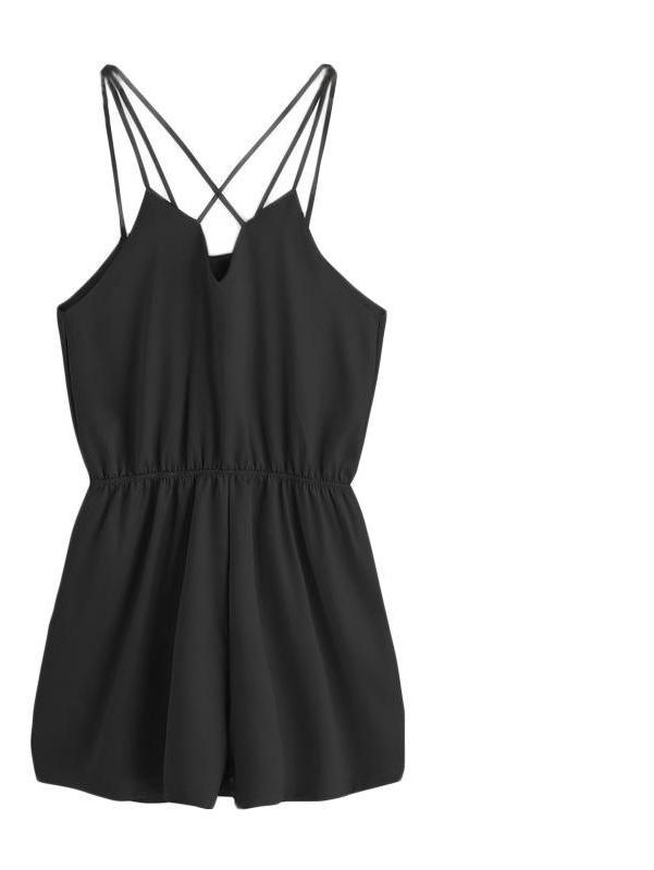 Women Black Cross Back Elastic Waist Sexy Slim Elegant Sleeveless Romper-ROMPERS & JUMPSUITS-SheSimplyShops