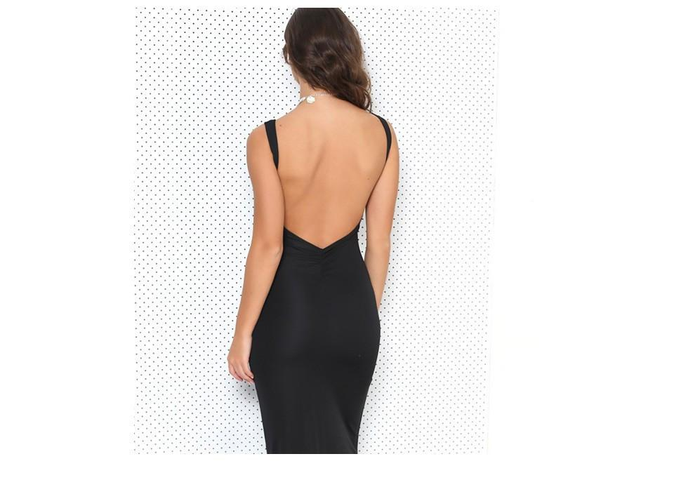 Summer style black maxi dress causal plus size women clothing elegant sexy open back backless evening party dresses-Dress-SheSimplyShops