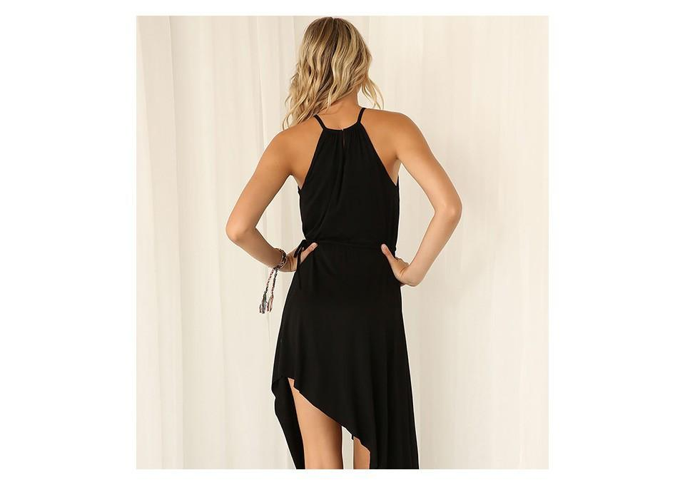 women summer dress casual women clothing chic black draped asymmetrical bohemian with gold plated neckline elegant DRESS-Dress-SheSimplyShops