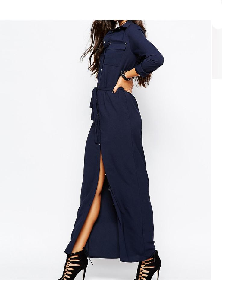 Long Sleeve Open Slit Casual Maxi Dress-Dress-SheSimplyShops