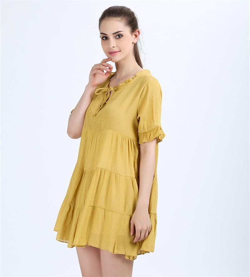 Yellow Dresses Vintage Cascading Ruffles Midi Robe Bow Neck Party Dress-Dress-SheSimplyShops