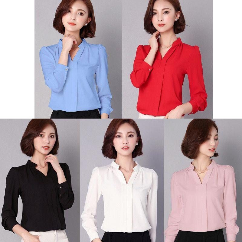 Black Red White Chiffon Blouse Women Long Sleeve Elegant Ladies Office Shirts Fashion Casual Slim Women Tops-Blouse-SheSimplyShops