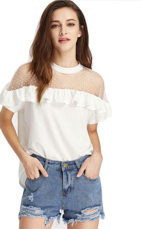 Dobby Mesh Shoulder T-Shirts Tee Women White Frill Trim Cute Elegant Summer Tops Semi Sheer Sexy Ruffle T-Shirt-SHIRTS-SheSimplyShops