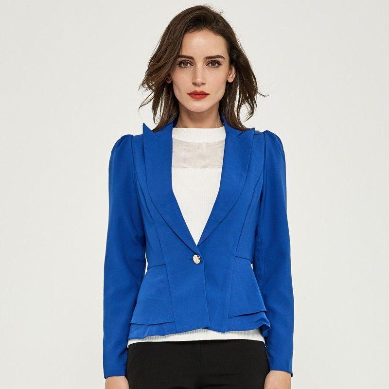 Blazer Women Natural Color Jacket Single Breasted Notched Women Full Sleeve Solid Blazers-Coats & Jackets-SheSimplyShops