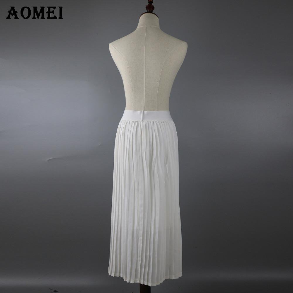 Spring Pleated A Line Skirt for Women Black Pink Color High Waist Knee Length Girls Cute Ladies Skirts-Dress-SheSimplyShops