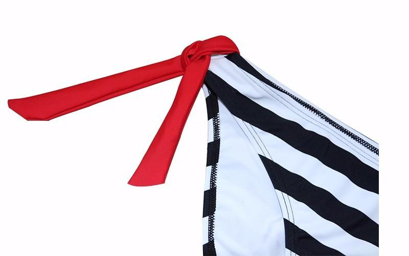 Sexy Bikinis Women Swimwear Halter Top Stripe Bandeau Swimsuit Bikini Set Bathing Suit Summer Beach Wear-Tops-SheSimplyShops