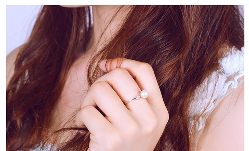 Sterling Silver Ring Natural Round Pearl Rings For Women Wedding Ring-SheSimplyShops