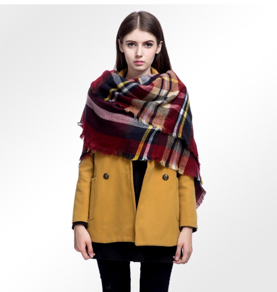 Thicken Winter Women Fashion Plaid Scarf Ladies Shawls Warm Cape-SCARVES-SheSimplyShops