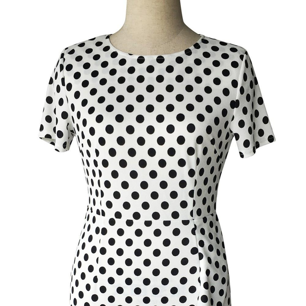 new retro dress Polka Dot Slim large size of professional temperament Tunic dress Office Work Business clothes-Dress-SheSimplyShops