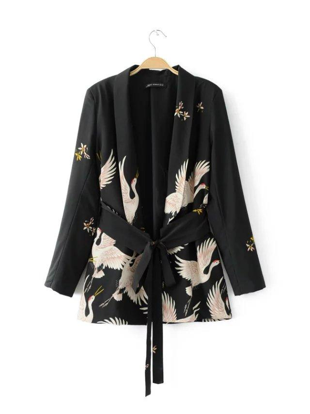 Women Fashion Vintage Retro Loose Jacket Animal Crane Print Kimono Suit jacket sashes Outwear Coat Tops-Coats & Jackets-SheSimplyShops