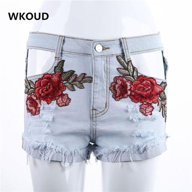 Women Shorts Jeans Sexy Ripped Floral Embroidery Denim Short Female Jeans Shorts Summer Shorts-JEANS-SheSimplyShops