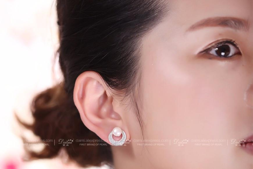 Natural White Pearl Shiny Circle Earrings Freshwater Pearl Earrings Silver Studs Earrings-EARRINGS-SheSimplyShops