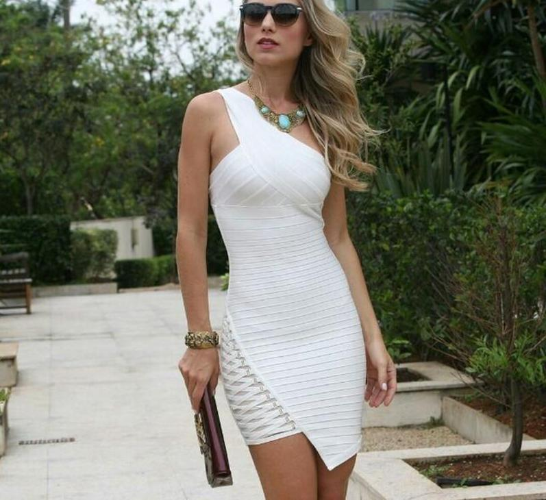 New fashion elegant Women's One-Shoulder Sexy Mini Dress.-Dress-SheSimplyShops