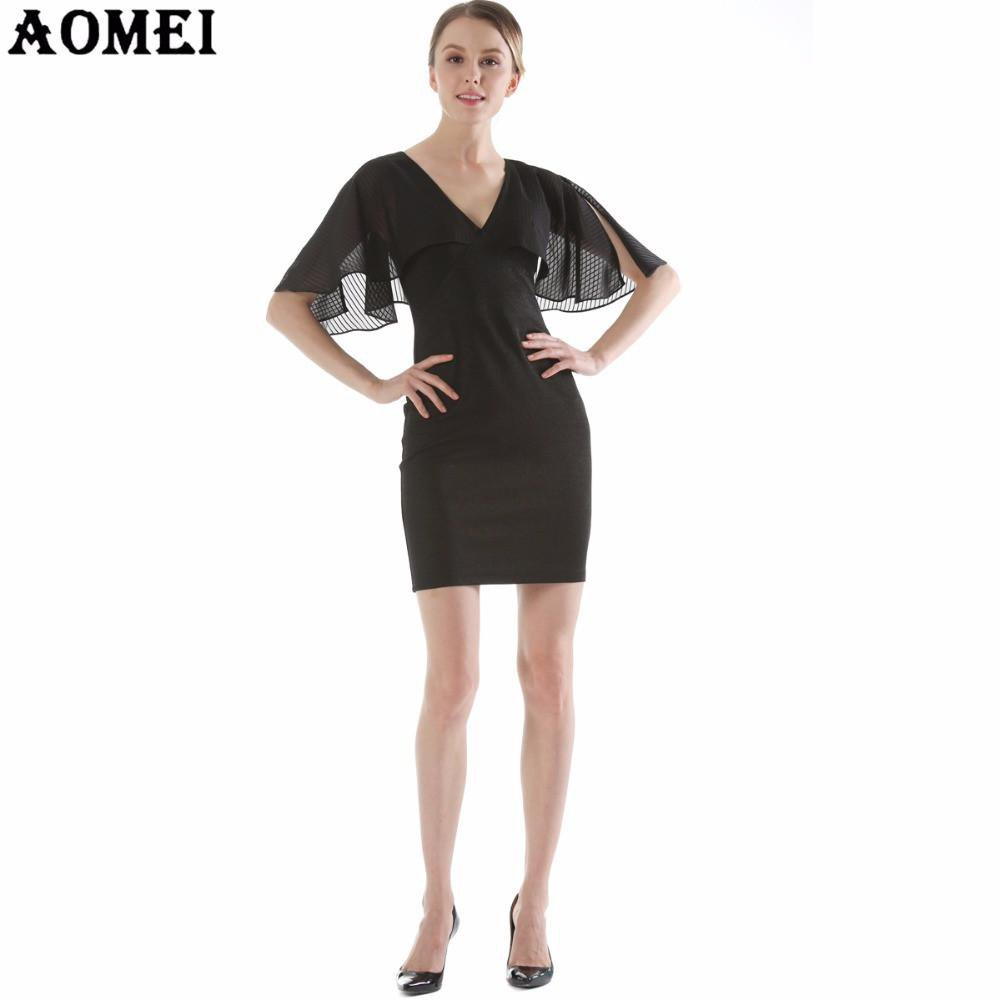 Women Summer Party Elegant Dress Black Blue Patchwork Spring Summer Bodycon V Neck Mini Tunics Female Robes Tunic Clothing-Dress-SheSimplyShops