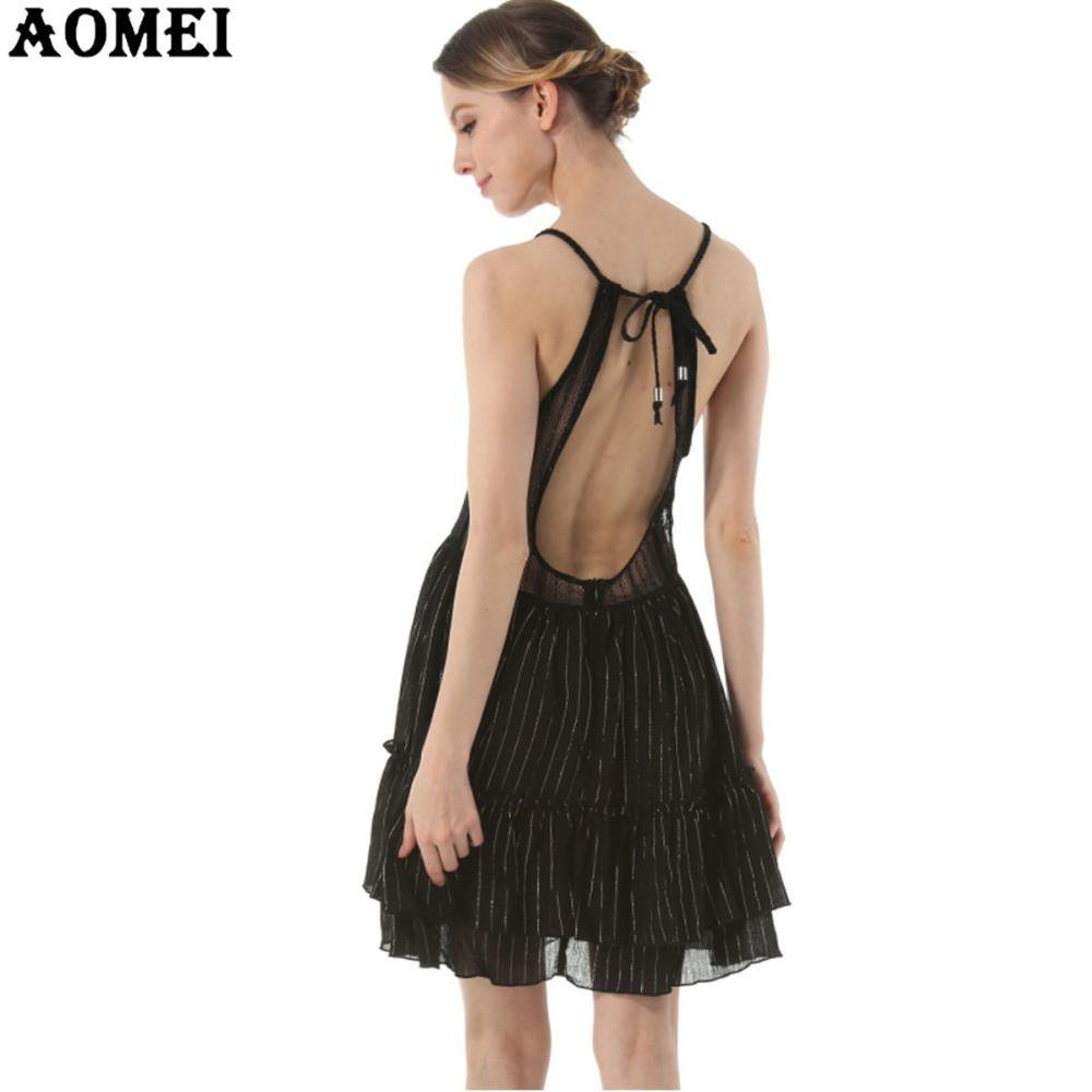 Summer Sexy Black Slip Dresses Backless Backless Mini Female Spaghetti Strap Robes Beach Patchwork Chiffon Boho Dress Tunics-Dress-SheSimplyShops