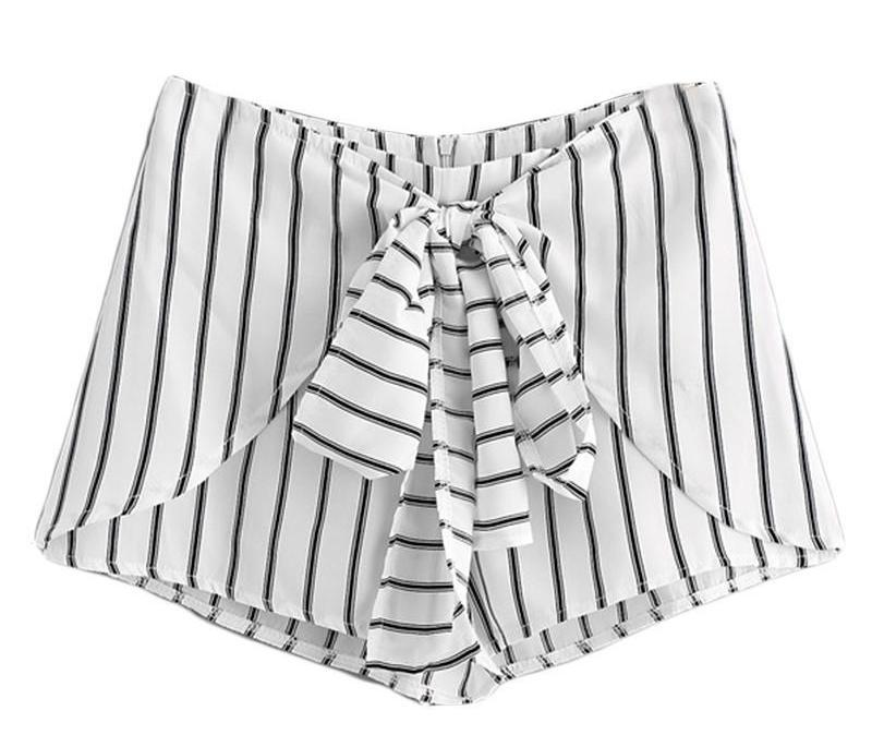 Striped Bow Tie Front Zipper Shorts Summer Elegant Mid Waist Shorts Office Ladies Fashion Black and White Shorts-PANTS-SheSimplyShops