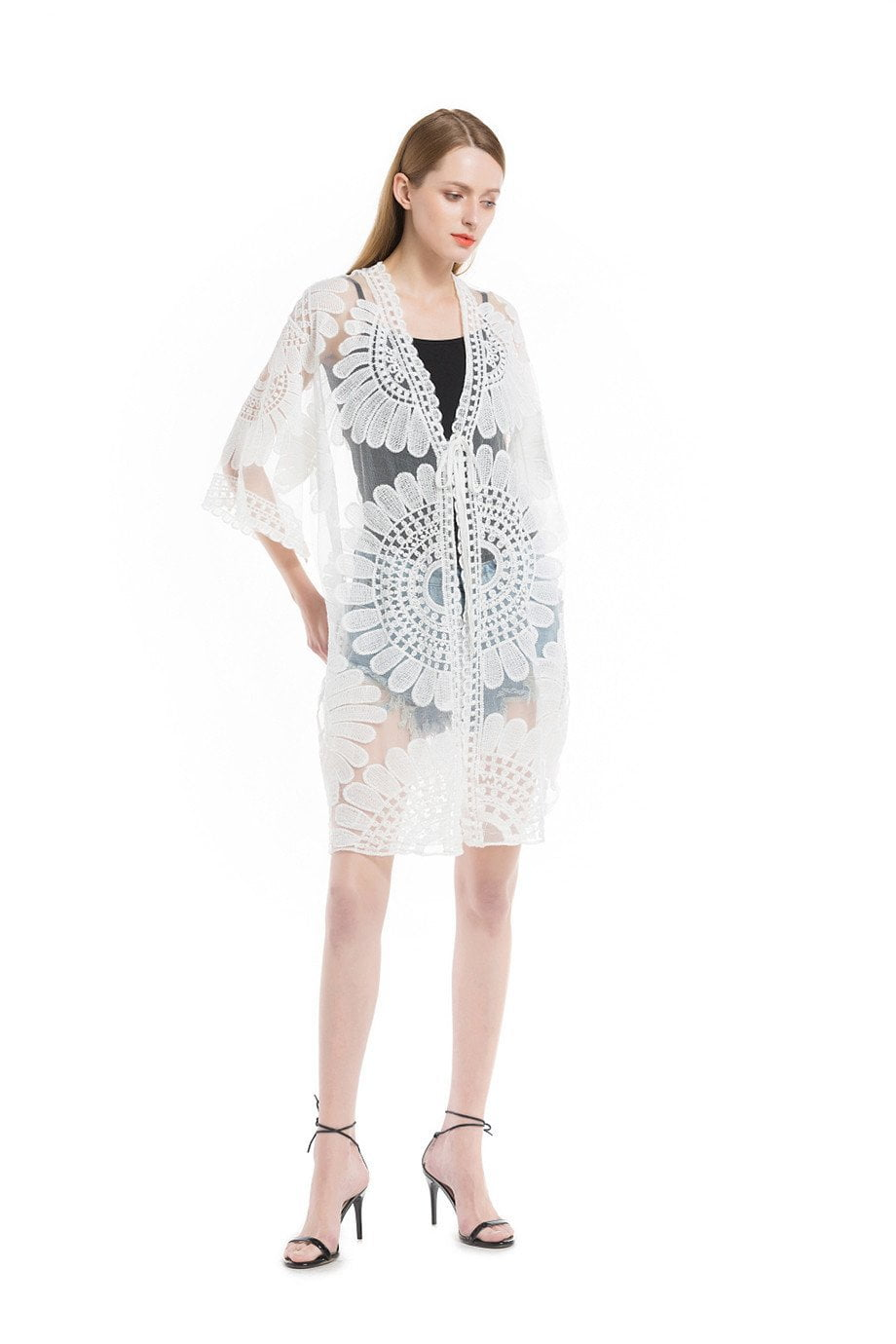 Long Lace Blouse White New Fashion Holiday Summer Women Tops Beach Cover Up Casual Embroidery Floral Cardigan-Blouse-SheSimplyShops