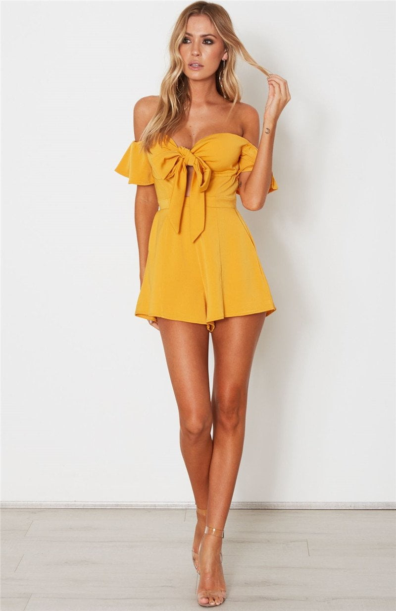 Lurex High Waist Bow Tie Bust Padded Strapless Off Shouler Playsuit New Summer Jumpsuit Women Rompers With Pockets-ROMPERS & JUMPSUITS-SheSimplyShops