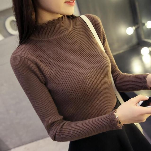 New Spring Autumn Fashion Women sweater high elastic sexy slim Warm tight Bottoming elegant Knitted Pullovers-Bottoms-SheSimplyShops