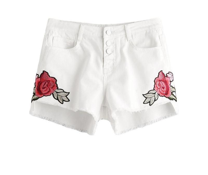 White Floral Denim Shorts Women Embroidery Slim Buttoned Fly Sexy Casual Shorts New Stepped Hem Shorts-PANTS-SheSimplyShops