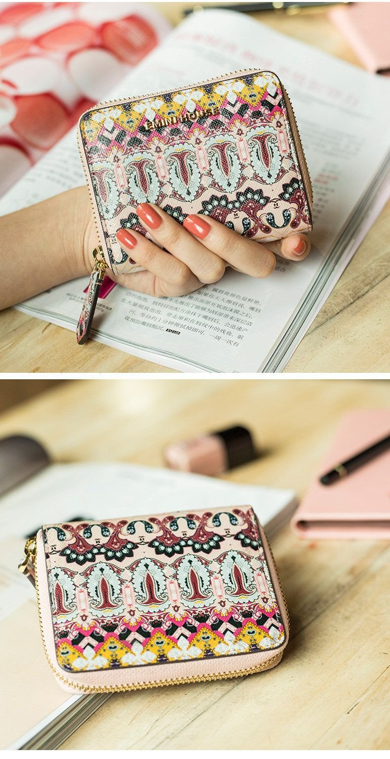 Baroque Short Wallet Split Leather Wallets Pink Color Women Purse Fashion Mini Wallet High Quality Coin Purse-WALLETS-SheSimplyShops