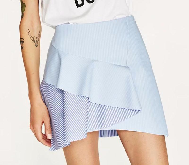 Double stripe blue skirts-Dress-SheSimplyShops