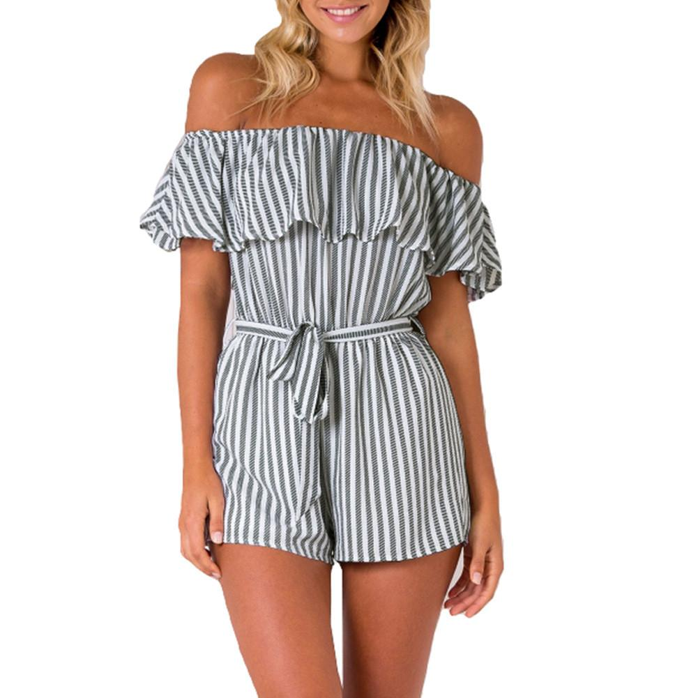 Fashion Striped Ruffle Rompers Women Jumpsuit Sexy Off Shoulder Summer Beach Overalls For Women Play suit Body-ROMPERS & JUMPSUITS-SheSimplyShops