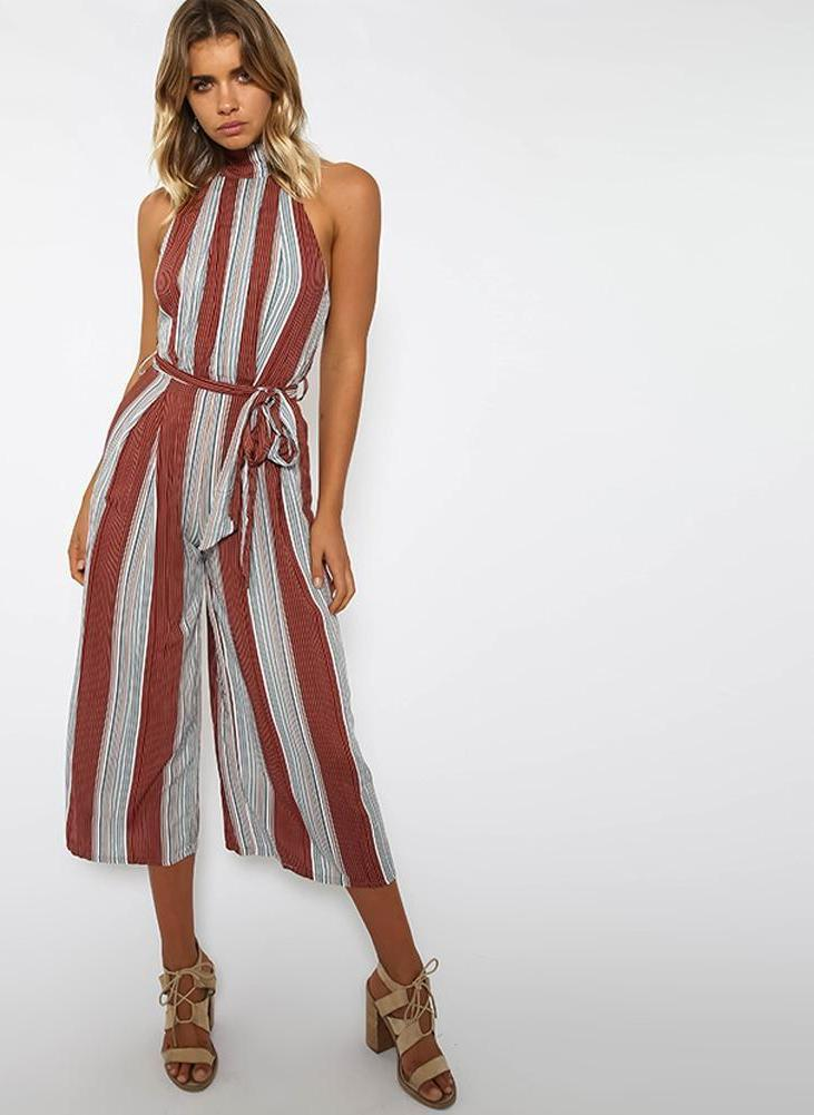 Fashion Striped Print Summer Jumpsuit Sexy Sleeveless Rompers Women Jumpsuit Casual Beach Party Play suit Leotard-ROMPERS & JUMPSUITS-SheSimplyShops