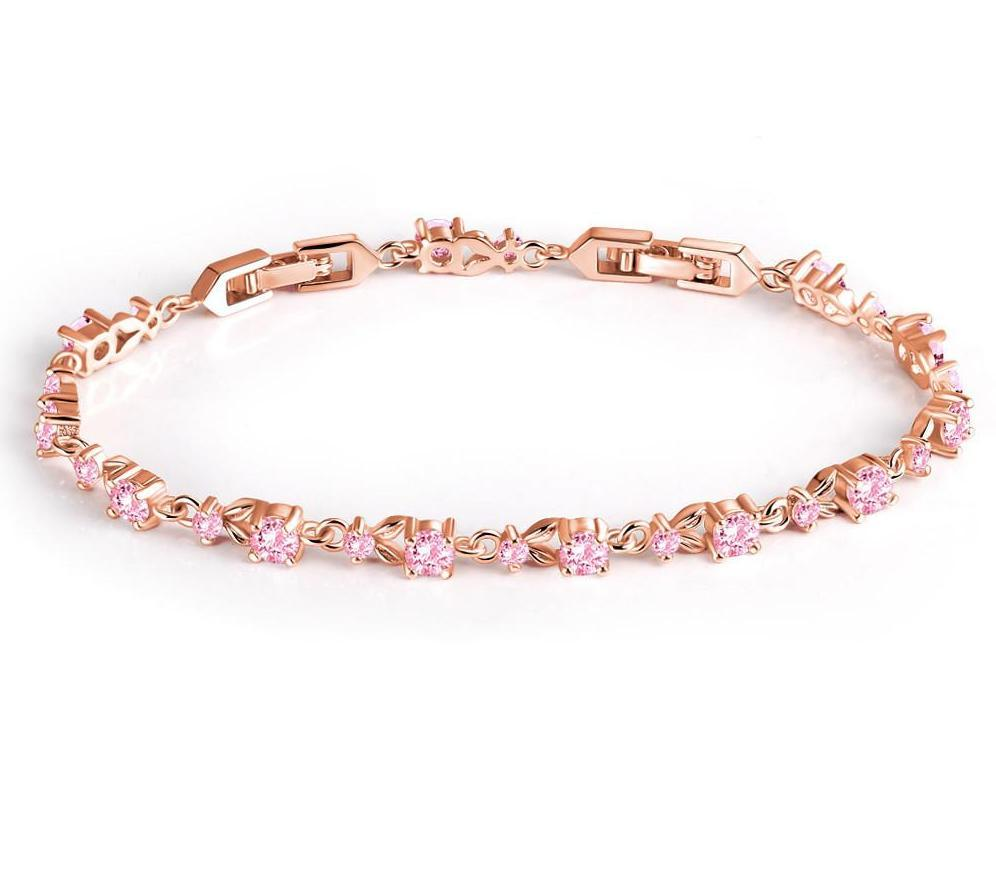 New Luxury Rose Gold Color Charm Bracelet for Women with Cubic Zircon Crystal Bracelets & Bangles Jewelry-BRACELETS-SheSimplyShops