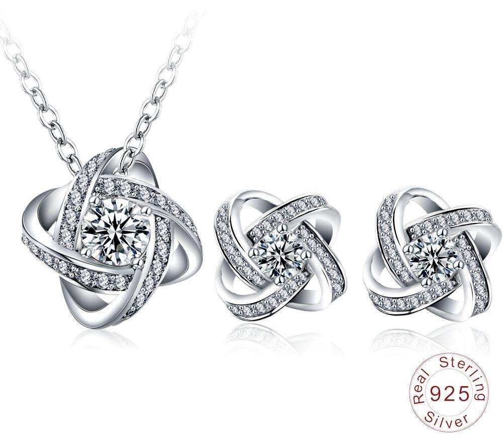 Jewelry Sets Real 925 Sterling Silver Pendants Necklaces /Earrings Stud Engagement Women Jewelry Sets-EARRINGS-SheSimplyShops