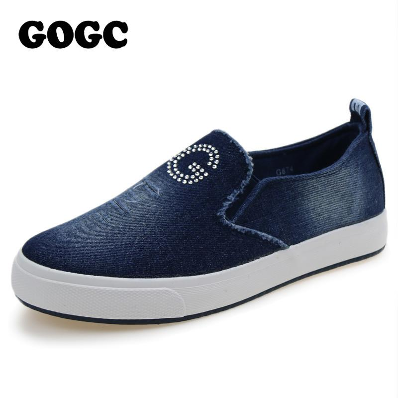 Fashion Denim Shoes with Crystal Breathable Ladies Casual Canvas Shoes Women Shoes Women Female Footwear-SLIPS-SheSimplyShops