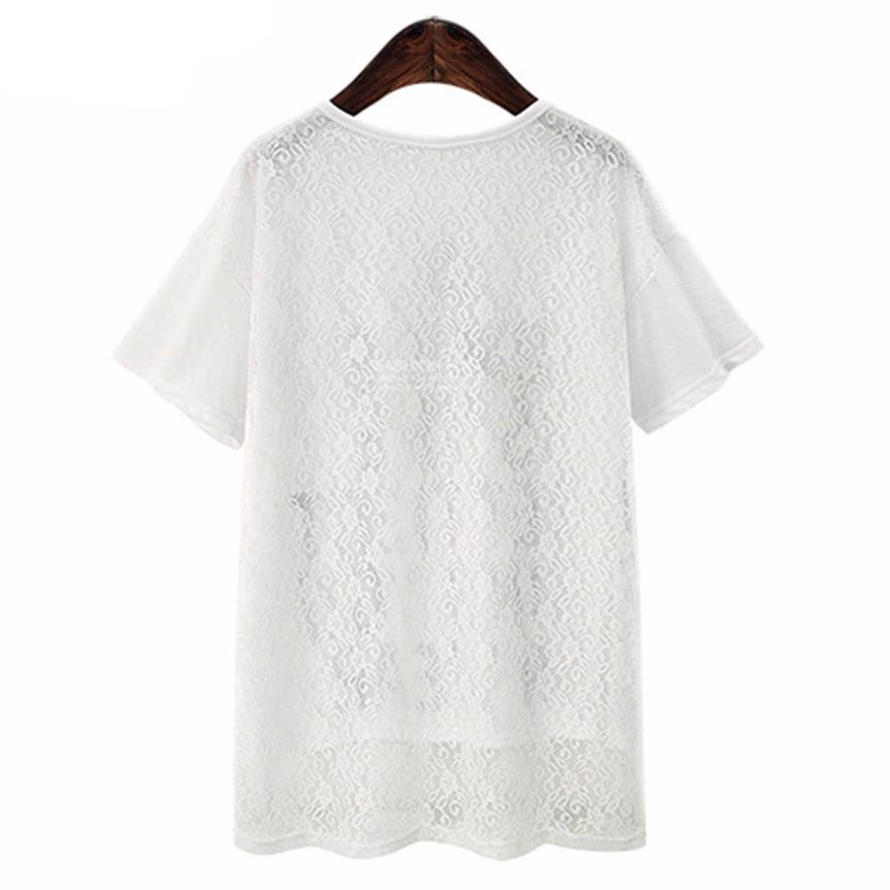 Women Fashion Tee Shirts with Lace Short Sleeves Irregular Summer Tops Clothing Casual New Fashion-SHIRTS-SheSimplyShops