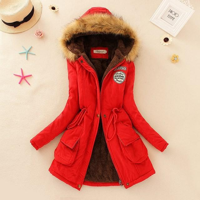 Elegant Outwear Military Hooded Thickening Cotton Coat-Coats & Jackets-SheSimplyShops