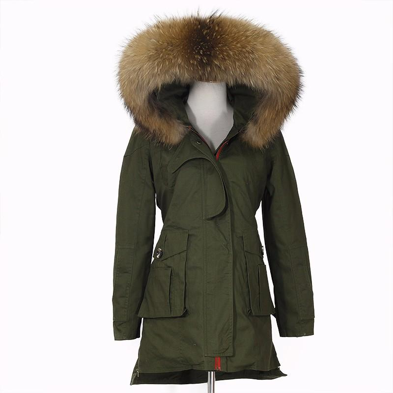 Winter Jacket Women Real Large Raccoon Fur Collar Thick Loose Coat outwear Parkas Army Green-Coats & Jackets-SheSimplyShops