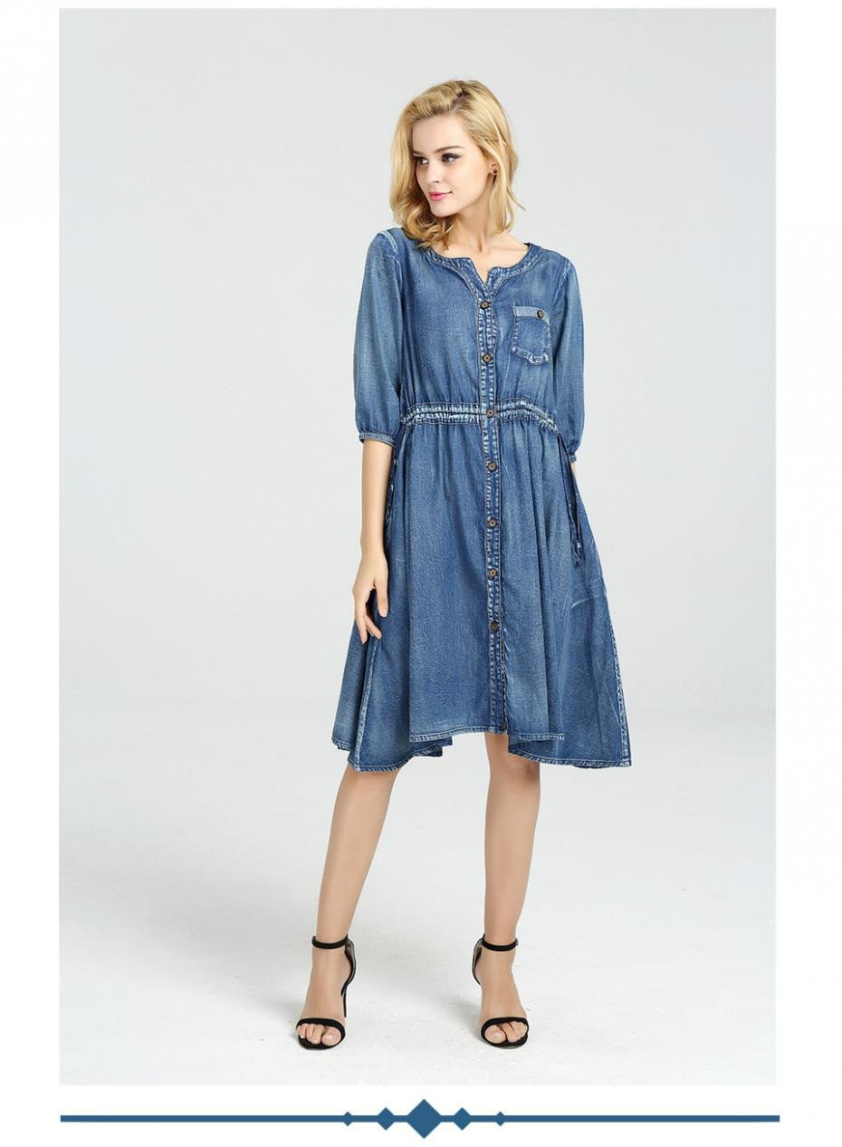Summer Dress Women Denim Dress New V-Neck Half Sleeve Adjustable Waist Women Dresses-Dress-SheSimplyShops