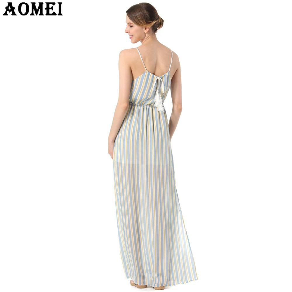 Maxi Long Women Summer Chiffon Dresses Spaghetti Strap Pink Blue color Striped Casual Beachwear Slip Dresses Gowns Female Robes-Dress-SheSimplyShops