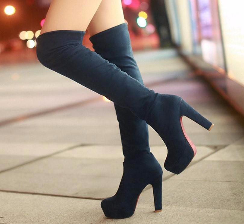 VALLKIN New Women Suede Sexy Fashion Over the Knee Boots Sexy Thin High Heel Boots Platform Woman Shoes Black Blue size 34-43-SLIPS-SheSimplyShops