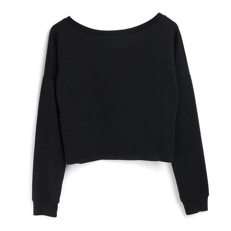 Crew neck Sweatshirts Girls Short Sexy Loose Pullover Fashion Hoodies Black Outfits Boyfriend Street wear-HOODIES-SheSimplyShops