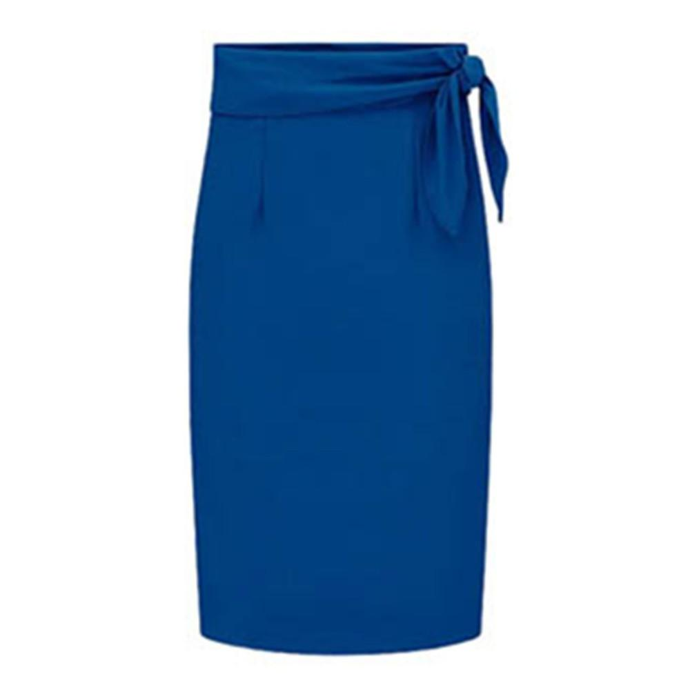 Spring Fashion Women Split Skits with Sashes Sexy High Waist Pencil Ladies Office Elegant Split Knee Length Skirt-Dress-SheSimplyShops