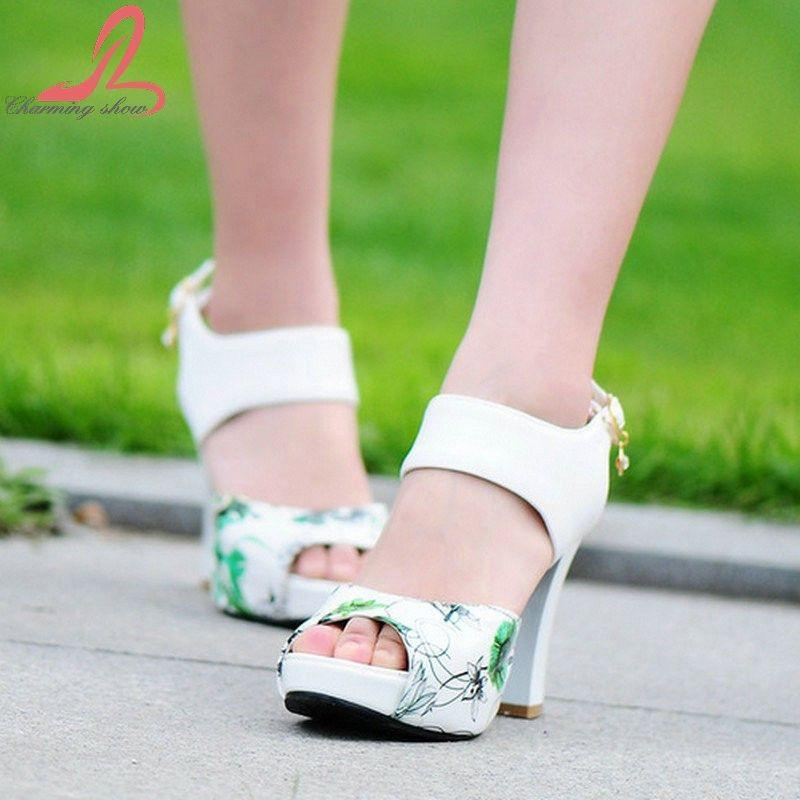 Big Size 32-43 Fashion Square Heel sexy Ankle Strap Summer Mix-color Sandal Shoes For Women Sandal-SHOES-SheSimplyShops