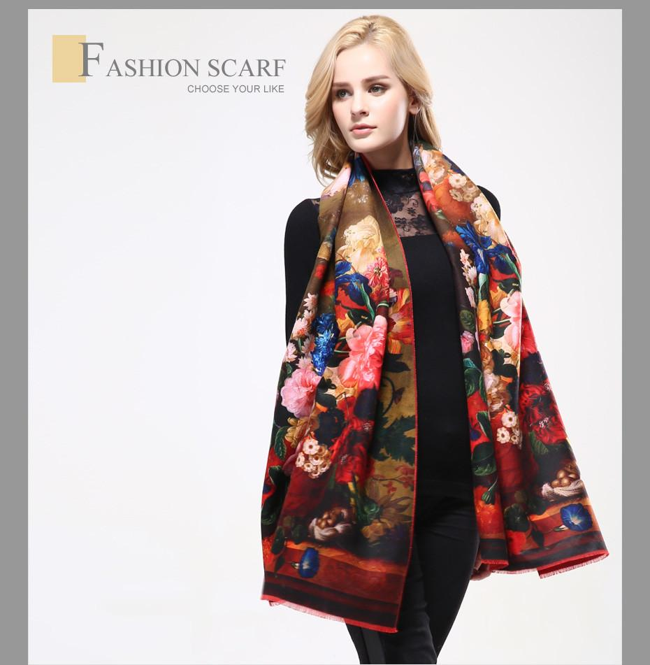 New Women Scarf Digital Printing Flowers Scarves Thicken Warm Shawls Wool Cashmere Scarf Woman Wrap-SCARVES-SheSimplyShops