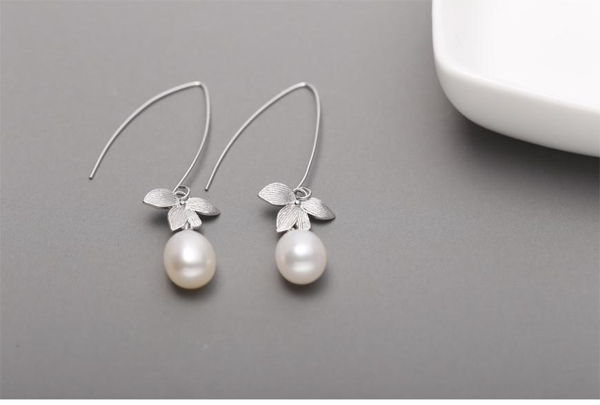 Long Flower Earrings Sterling Silver with Natural Pearl Earrings Lone Leaves Earrings-EARRINGS-SheSimplyShops
