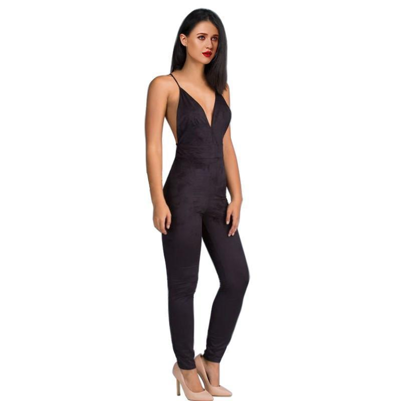 Sedrinuo Sleeveless Elegant Jumpsuit Fashion Bodycon Deep V neck Halter Cross Suede Sexy Club Jumpsuits and Rompers for Women-ROMPERS & JUMPSUITS-SheSimplyShops