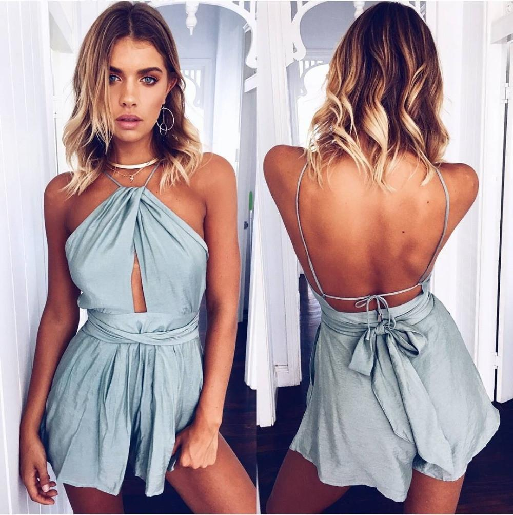Sexy Bodysuit Women Shorts Boho Jumpsuit Sash Bow Summer Style Halter Beach Resort Romper-ROMPERS & JUMPSUITS-SheSimplyShops