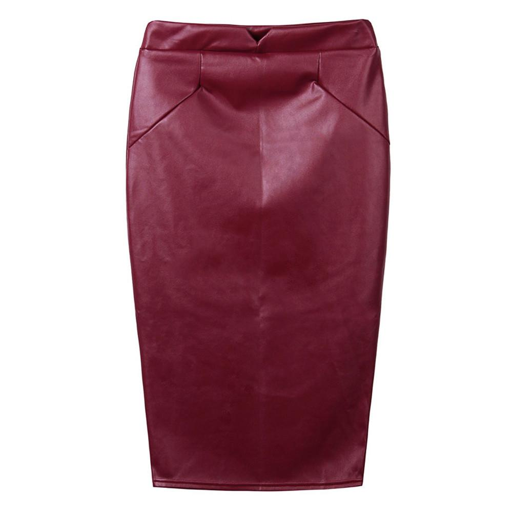 Soft PU Leather High Waist Slim Skirts-Dress-SheSimplyShops
